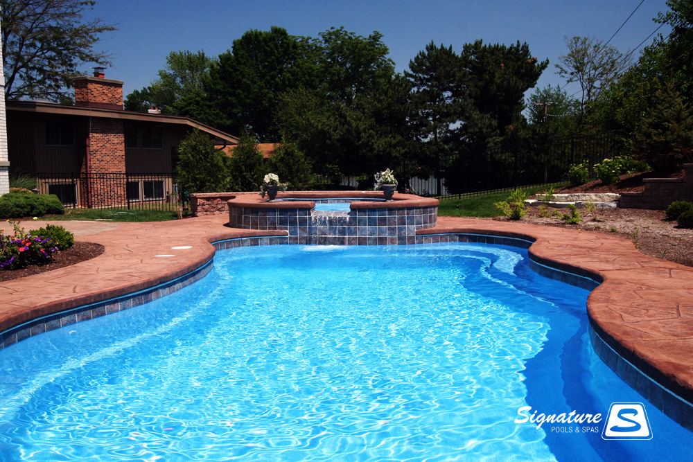 Inground fiberglass pool picture gallery from signature - How long after you shock a pool can you swim ...