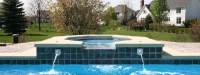 Fiberglass Pool (40' x 16') with Spillover Spa in St. Charles, IL