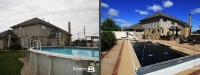 Before & After Picture of a Fiberglass Pool in Tinley Park, IL