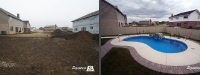 Before & After Picture of a Fiberglass Pool in Woodridge, IL