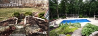Before & After Picture of a Fiberglass Pool in St. Charles, IL