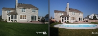 Before & After Picture of a Fiberglass Pool in Geneva, IL