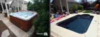 Before & After Picture of a Fiberglass Pool in Vernon Hills, IL