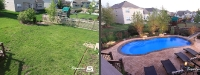 Before & After Picture of a Fiberglass Pool in Plainfield, IL