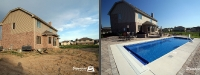 Before & After Picture of a Fiberglass Pool in Lemont, IL