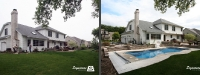 Before & After Picture of a Fiberglass Pool in Batavia, IL