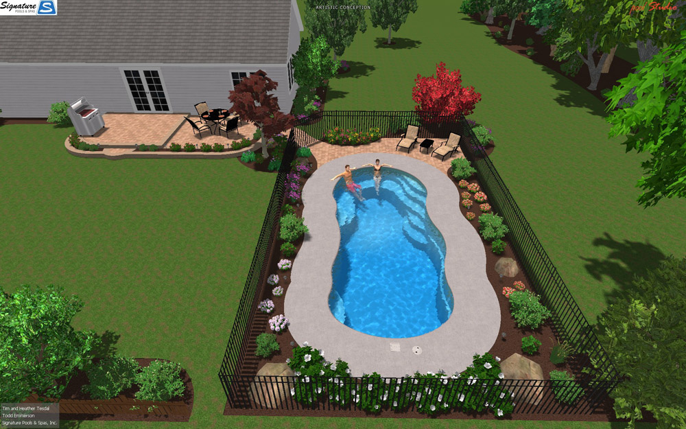 3d swimming pool designs for fiberglass pools signature for Average square footage of a swimming pool