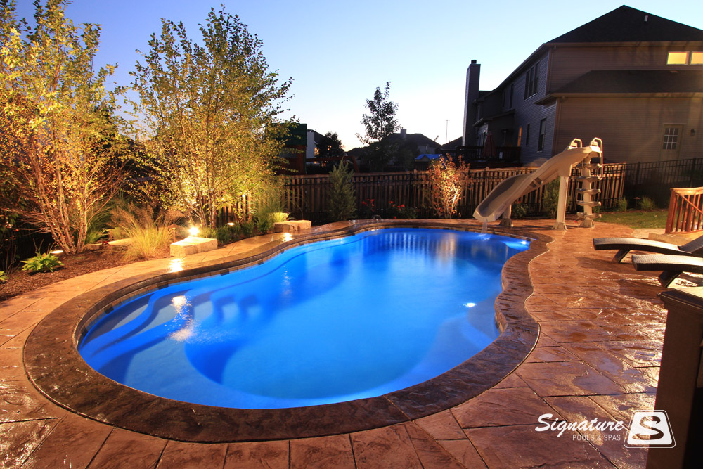 Leisure pools riviera style fiberglass pool signature - Riviera fiberglass pools ...