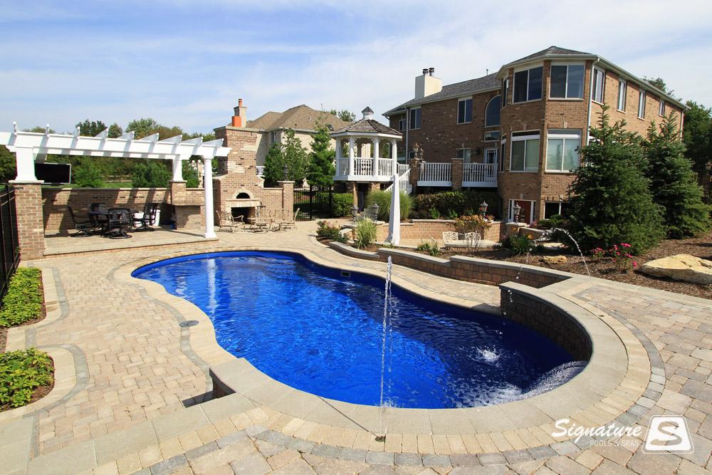 Leisure pools riviera style fiberglass pool signature - Riviera pool ...