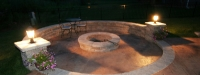 Outdoor Fire Pit and Seat Wall in West Chicago, IL