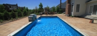 Inground Fiberglass Pool with Outdoor Fireplace in South Barrington, IL