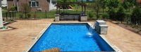 Luxury Fiberglass Pool with Brick Paver Coping and Brick Paver Patio in South Barrington, IL