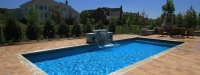 Cassini Model Rectangle Pool with Automatic Pool Cover and Water Feature in South Barrington, IL