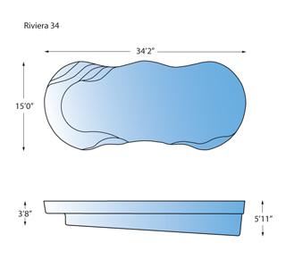 Riviera 34 Line Drawing