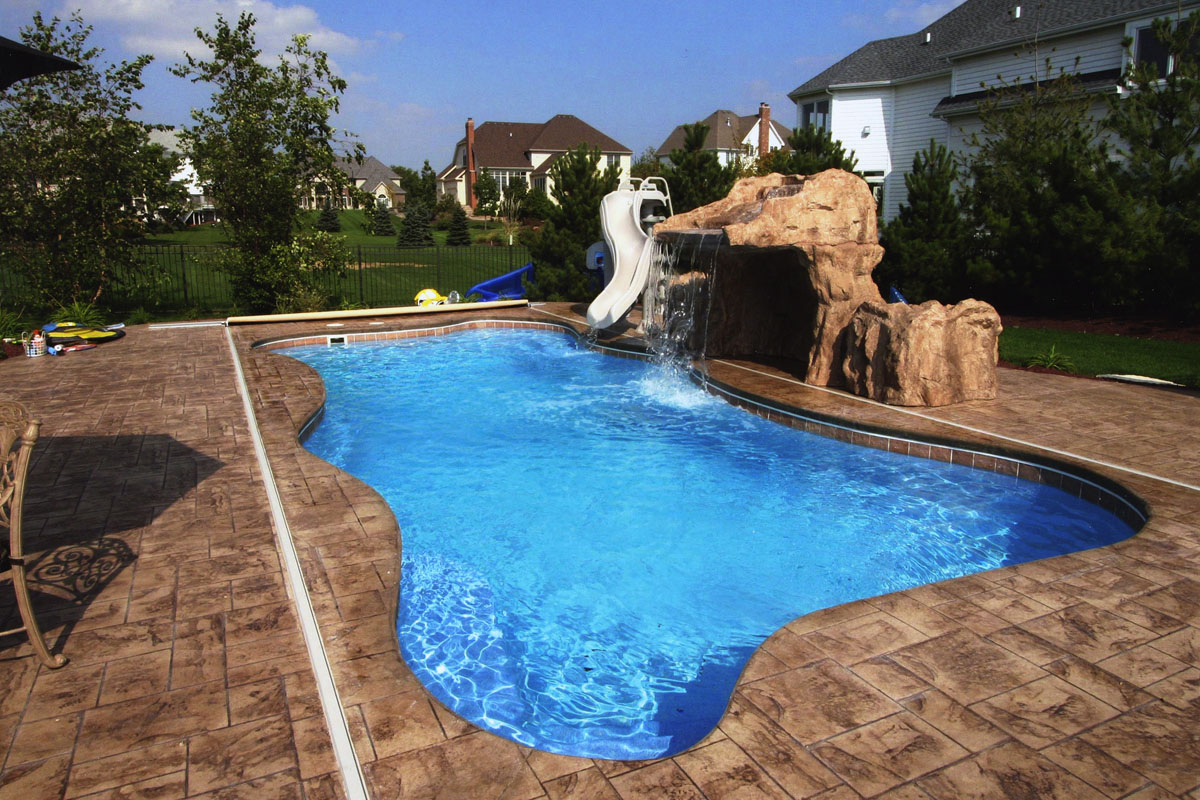 Fiberglass Swimming Pool Designs intex swimming pool design ideas with round fiberglass pool and foliages around the pool Signature Pools 36 X 16 Fiberglass Pool In Naperville Il