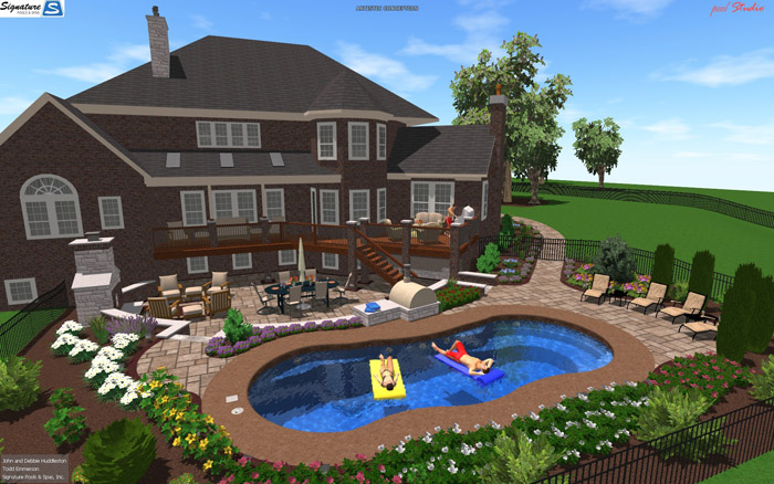 3d swimming pool designs for fiberglass pools signature for Pool design jobs