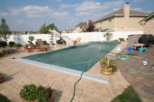 Signature Pools 35' x 16' fiberglass pool in Tinley Park, Illinois