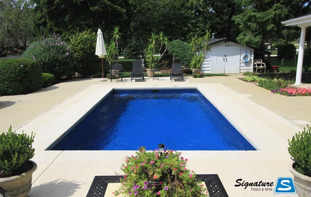 Helios Model Pool From Trilogy Pools Signature Fiberglass Pools Chicago Swimming Pool Builder