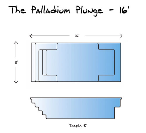 Palladium Plunge 16 Pool_Line Drawing - Leisure Pools