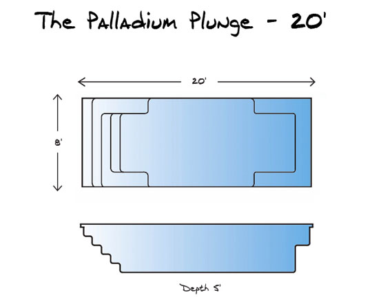 Palladium Plunge 20 Pool_Line Drawing - Leisure Pools