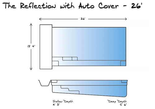 Reflection with Auto Cover 26 Pool_Line Drawing - Leisure Pools