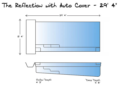 Reflection with Auto Cover 29 Pool_Line Drawing - Leisure Pools