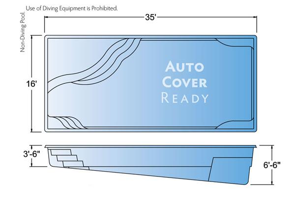 Gravity signature fiberglass pools chicago swimming pool for Pool design dimensions
