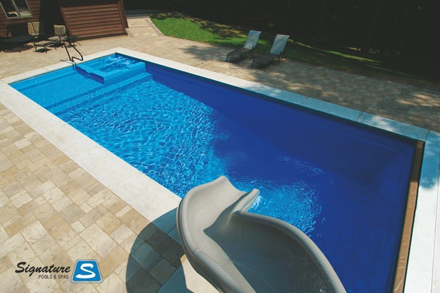 Icon Model Fiberglass Pool From Leisure Pools Signature Fiberglass Pools Chicago Swimming Pool