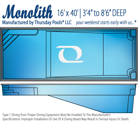 Monolith fiberglass pool line drawing from Signature Pools and River Pools powered by Thursday Pools