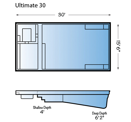 Ultimate 30 fiberglass pool line drawing from Signature Pools and Leisure Pools