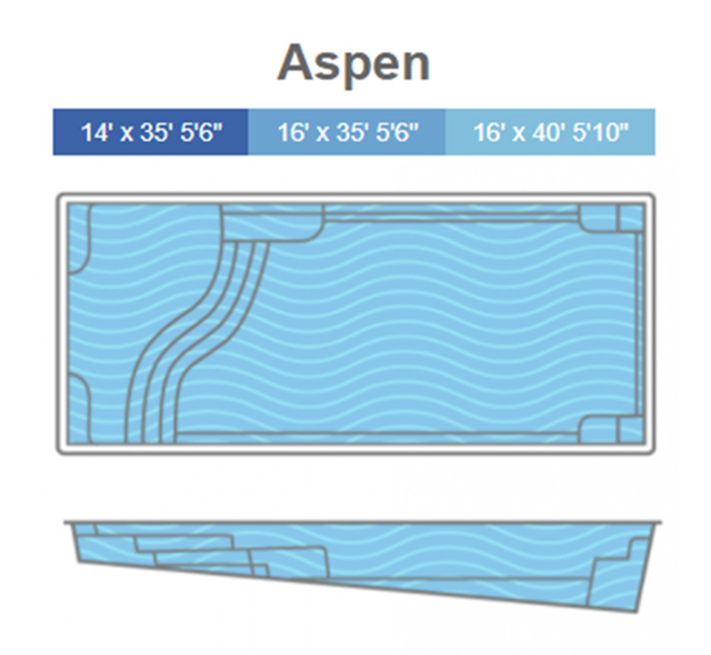 Aspen Fiberglass Pool - Line Drawing - Thursday Pools - Signature Pools