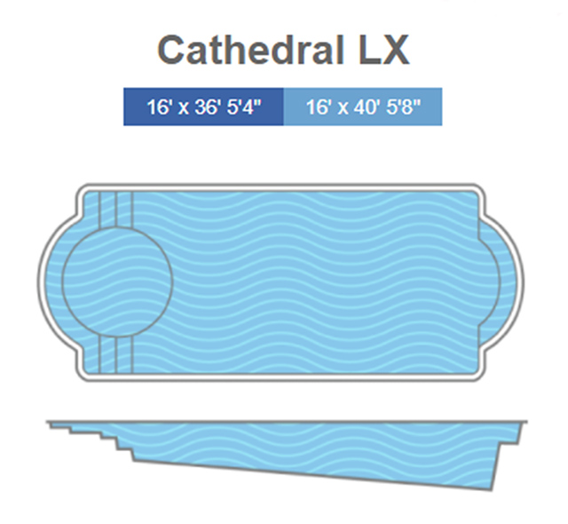 Cathedral LX Fiberglass Pool Line Drawing - Signature Pools Thursday Pools