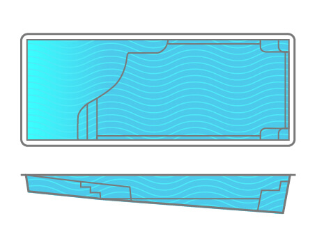 Grace Beach Entry Fiberglass Pool Line Drawing - Signature Pools - Thursday Pools